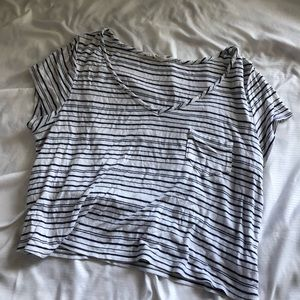 white and blue stripped cropped v neck